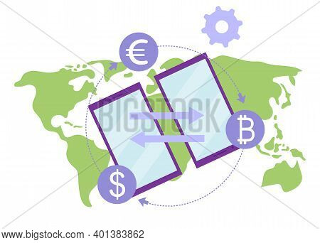 Money Transfer Flat Illustration. International Financial Transactions And Currency Conversions Rate