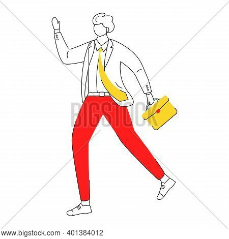 Office Worker Flat Contour Vector Illustration. Worker Hurrying To Business Meeting. Late For Work E