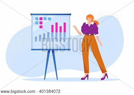 Business Presentation Flat Vector Illustration. Office Worker Presenting Annual Report. Employee Spe