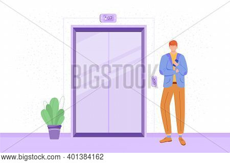 Employee In Office Hall Flat Vector Illustration. Male Staff Member Waiting For Elevator. Office Cor