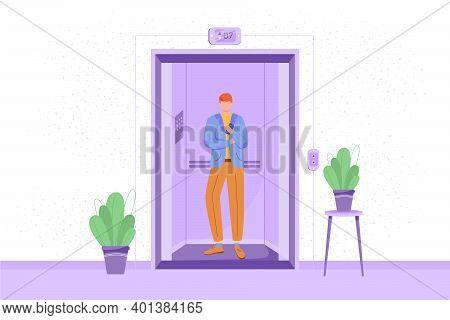 Employee In Elevator Vector Illustration. Man In Hotel Lift. Office Corridor Interior With Plants. B