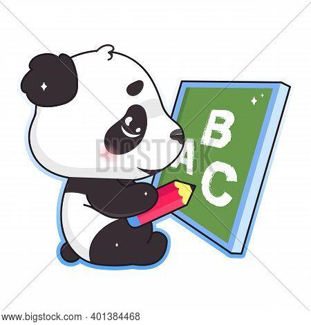 Cute Panda Drawing On School Board With Pencil Kawaii Cartoon Vector Character. Adorable And Funny A