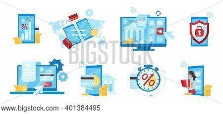 Banking Service Flat Vector Illustrations Set. E Payments App, Billing Service, Financial Transactio