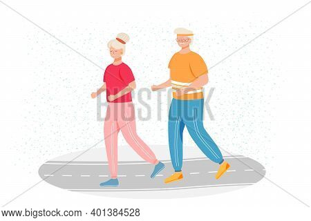 Retired People Training Flat Vector Illustration. Physical Activity. Healthy Lifestyle. Old Couple I