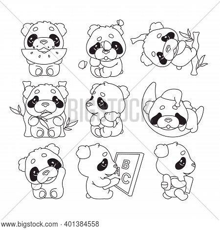 Cute Panda Kawaii Linear Characters Pack. Adorable, Happy And Funny Animal Eating Watermelon, Bamboo