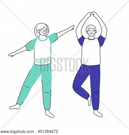 Retired People Training Flat Vector Illustration. Physical Exercise. Healthy Lifestyle. Old Couple.