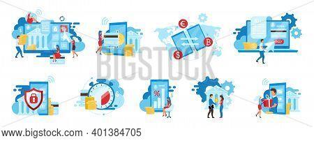 Banking Service Flat Vector Illustrations Set. E Payments App, Billing Service, Safe Financial Trans