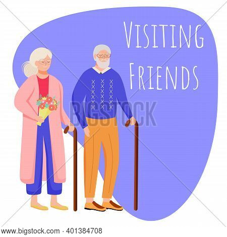 Visiting Friends Social Media Post Mockup. Retired People With Walking Stick. Advertising Web Banner