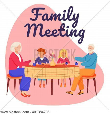 Family Meeting Social Media Post Mockup. Retired People. Grandparents With Kids. Advertising Web Ban