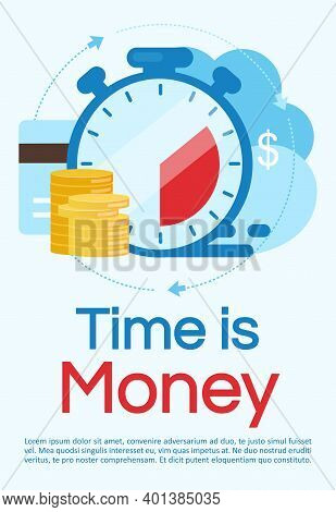 Time Is Money Poster Vector Template. Investment, Deposit Period. Brochure, Cover, Booklet Page Conc