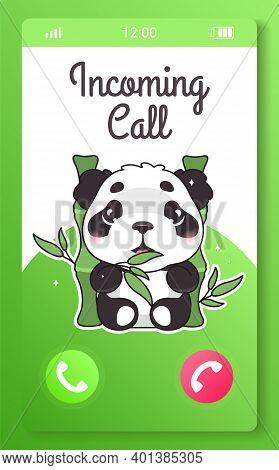 Incoming Call Kids Mobile App Screen With Cartoon Kawaii Character. Smartphone Girlish Application.
