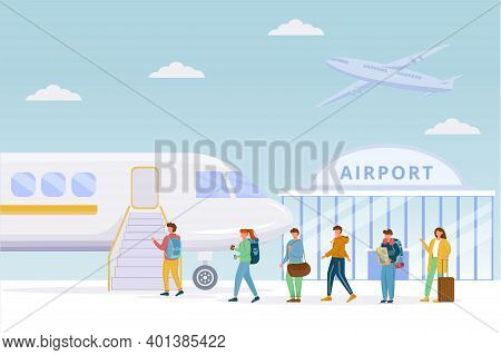 Passengers Boarding Plane Flat Vector Illustration. Airport. People On Airfield. Tourists, Travelers