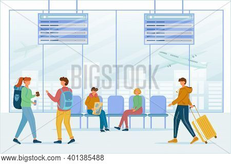 Passengers In Airport Lounge Area Flat Vector Illustration. Travelers In Air Terminal. Transit Stop.