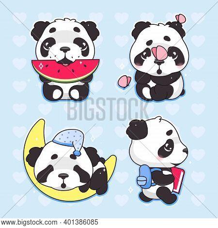 Cute Panda Kawaii Cartoon Vector Characters Set. Adorable And Funny Animal Eating Watermelon, Sleepi