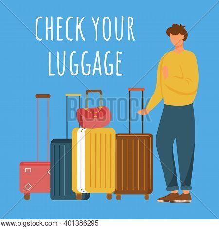 Check Your Luggage Social Media Post Mockup. Man And Baggage. Advertising Web Banner Design Template