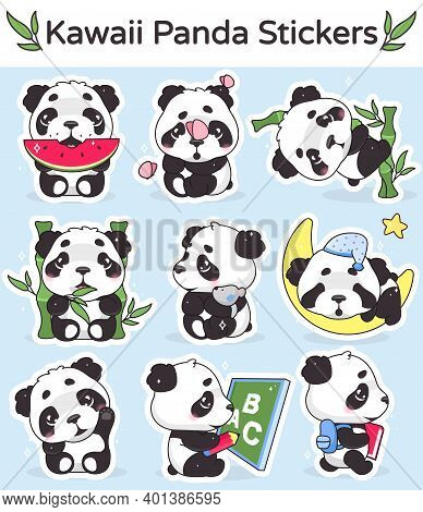 Cute Panda Kawaii Cartoon Vector Characters Set. Adorable, Happy And Funny Animal Eating Watermelon,