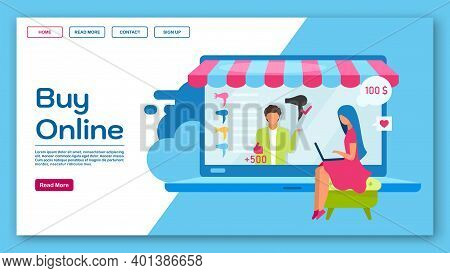 Buy Online Landing Page Vector Template. Ecommerce, Eshopping Website Interface Idea With Flat Illus