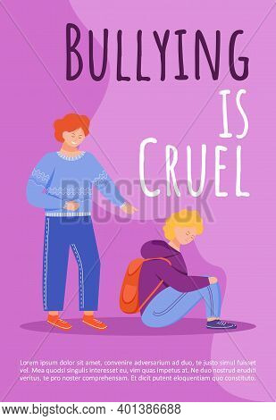 Bullying Is Cruel Poster Vector Template. School Mockery Problem Brochure, Cover, Booklet Page Conce