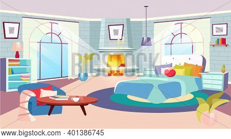 Bedroom Interior At Daytime Flat Vector Illustration. Huge Bed With Decorative Pillows, Blanket In S