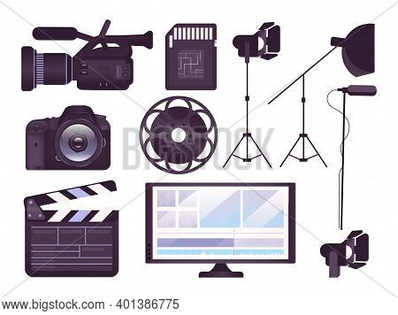 Video Production Equipment Flat Concept Icons Set. Professional Camera, Clapboard, Movie Reel Sticke