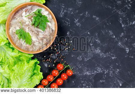 A And Fresh Vegetables. The National Dish Of Russian, Ukraine And Belarus. .jelly. Tomatoes And Sala