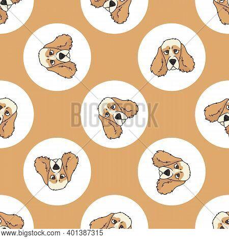 Hand Drawn Cute Cocker Spaniel Dog Face Breed In Polka Dot Seamless Vector Pattern. Purebread Pedigr