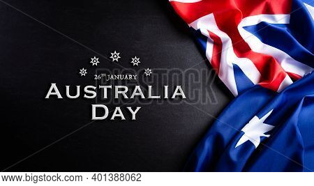 Australia Day Concept. Australian Flag Against A Blackboard Background. 26 January.