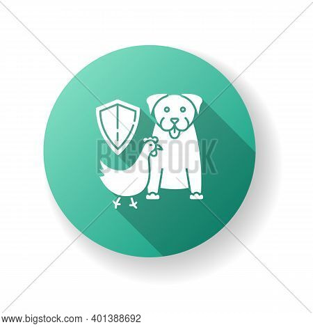Wildlife Protection Green Flat Design Long Shadow Glyph Icon. Rescue Domestic Animal. Shelter Campai
