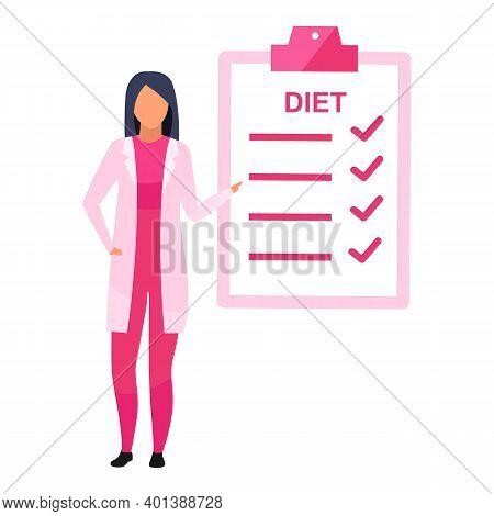 Diet Planning Flat Vector Illustration. Female Nutritionist Prescribing Nutrition Schedule Isolated