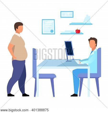 Obese Man Visiting Dietitian Flat Vector Illustration. Overweight Adult Consulting Nutritionist Isol