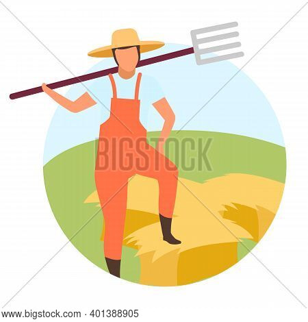 Hay Harvesting Flat Concept Icon. Farm Worker, Farmer With Pitchfork Character. Haybales, Hay Stacki