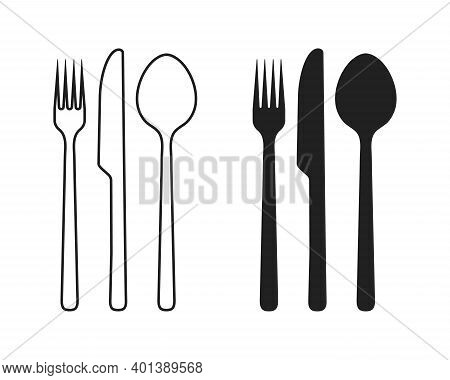 Fork Spoon And Knife Cutlery Icon With Black Silhouette And Thin Line Isolated Vector Illustration.