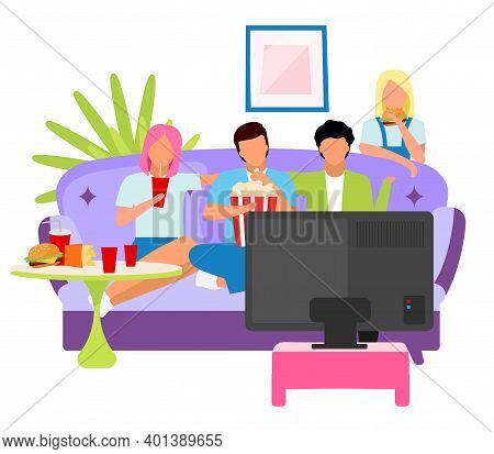 Friends Watching Movie Together Flat Illustration. Guys And Girls Spending Time, Pastime At Home Wit