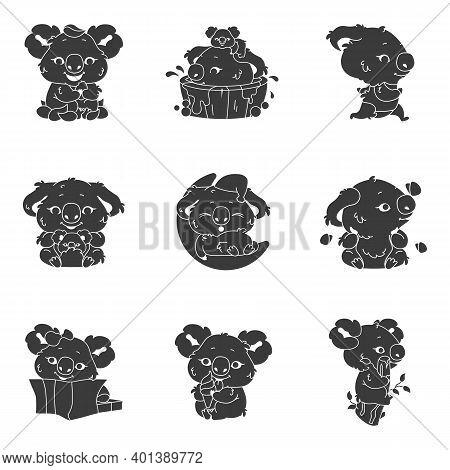 Cute Koala Kawaii Character Glyph Icons Set. Adorable And Funny Animal Running, Bathing, Sleeping St