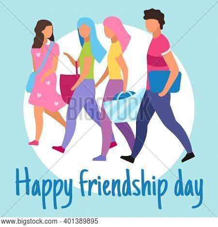 Happy Friendship Day Social Media Post Mockup. Best Friends Together. Advertising Web Banner Design