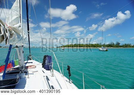 Sailing Out Of Key West In Florida Keys Florida, Boat Trip In Turquoise Water, Sailboat Floating On