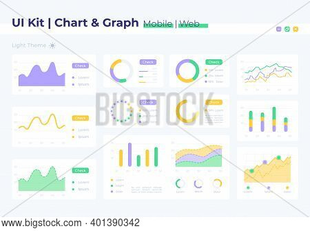 Graph Ui Elements Kit. Finance Report, Statistic Analysis. Chart Isolated Vector Icon, Bar And Dashb