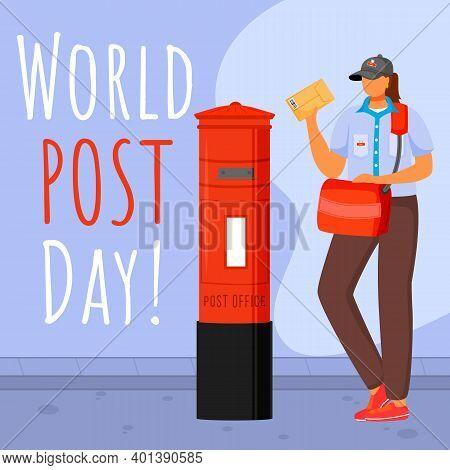 World Post Day Social Media Post Mockup. Traditional British Uniform. Advertising Web Banner Design