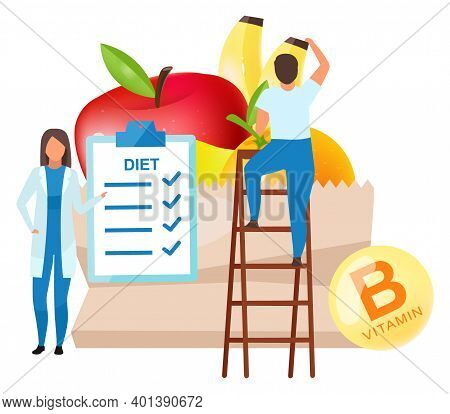 Dietitian Food Recommendations Flat Vector Illustration. Female Doctor Adding Fresh Fruits To Daily