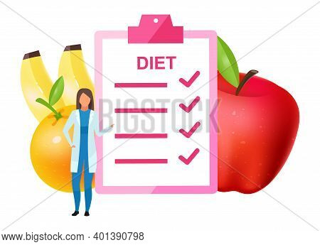 Doctor Offering Diet Plan Flat Vector Illustration. Female Nutritionist Adding Fruits To Nutrition I