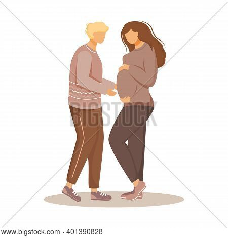 Happy Family Expecting Of Baby Flat Vector Illustration. Loving Couple In Parental Concerns. Guy Tak