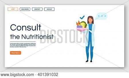 Nutritionist Recommendations Landing Page Vector Template. Consulting Dietitian Website Interface Id