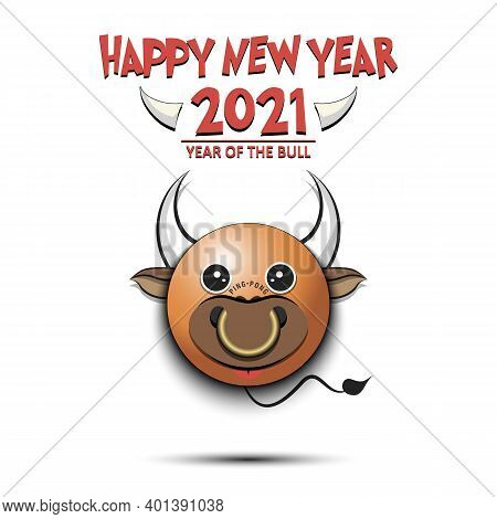 Happy New Year. Ping-pong Ball Made In The Form Of A Bull