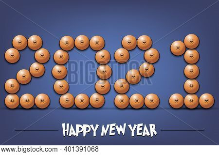 Happy New Year. 2021 Made From Ping-pong Balls