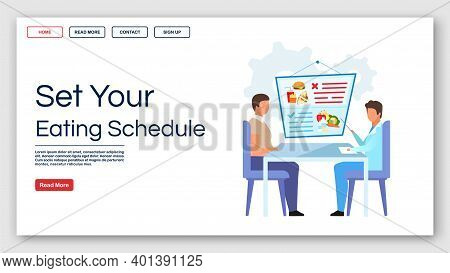 Setting Eating Schedule Landing Page Vector Template. Healthy Nutrition Website Interface Idea With