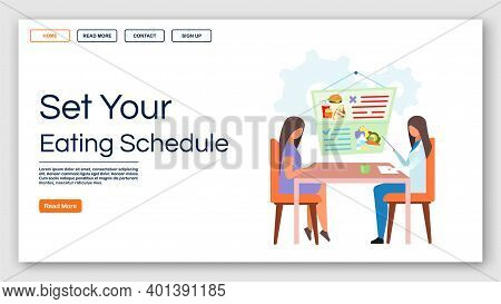Healthy Eating Schedule Landing Page Vector Template. Consulting Dietitian Website Interface Idea Wi