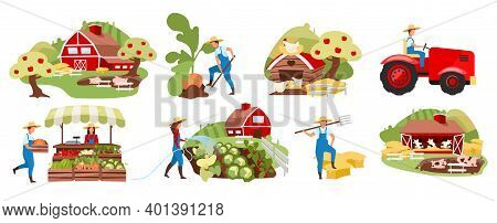 Farming Flat Vector Illustrations Set. Agriculture And Livestock, Poultry Farming. Countryside Organ