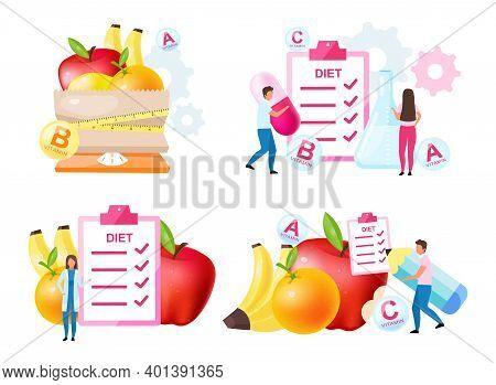 Dietology Experts Flat Vector Illustrations Set. Fresh Vitamins Containing Fruits. Choosing Healthy
