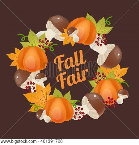 Fall Fair Social Media Post Mockup. Autumn Harvest Frame With Lettering. Advertising Web Banner Temp