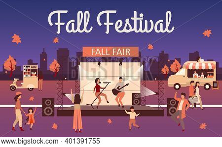Night Fall Festival Flat Illustration. Autumn Event And Thanksgiving Day Holiday Advertising Poster.